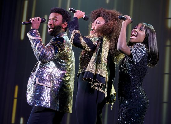 Donald Webber Jr. as BeBe Winans, Liisi LaFontaine as Whitney Houston, and Loren Lott as CeCe Winans in BORN FOR THIS – A NEW MUSICAL.