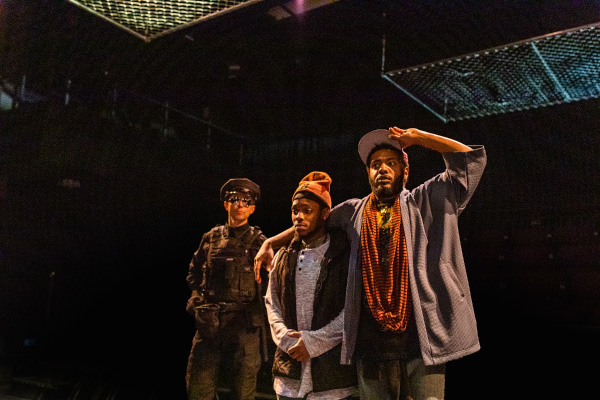 "Lewis D. Wheeler, Hubens ""Bobby"" Cius, and Kadahj Bennett in SpeakEasy's Stage production of PassOver. Photo by Nile Scott Studios."