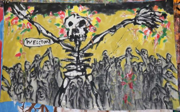 """Peter Schumann's """"Bedsheet Mitigations"""": paintings by the founder of Bread & Puppet Theater."""