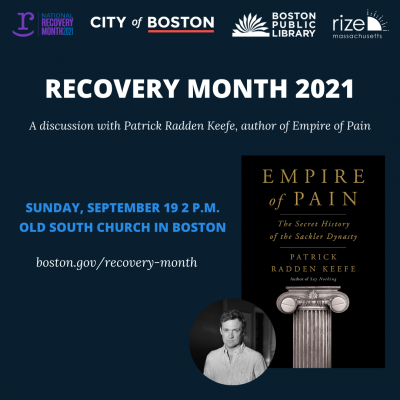 National Recovery Month: Author Talk with Patrick Radden Keefe