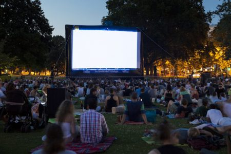 Outdoor Film Screening in a Park at Night for Mayor Walsh's Movie Nights